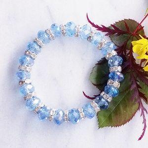 ❤ 4 for $25 ❤ Blue Silver Marano Glass Bracelet